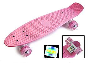 """Пенни борд """"Pastel Series"""". Light Pink (светящиеся колёса)"""