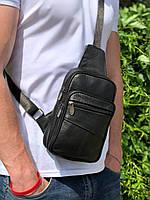 Мужская сумка слинг через плечо кожаная Черна