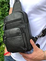 Кожаная сумка слинг на одно плечо Черная из натуральной кожи