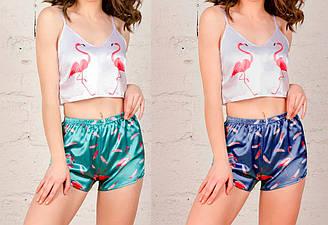 Комплект женский: топ на тонких бретелях+шорты, рисунок стич, атлас,  SAIMEIQI (размер M)