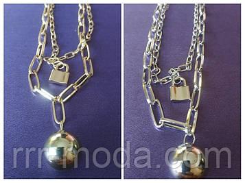 Колье, модное металлическое колье (2 расцветки золото и серебро). 396