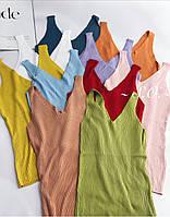 Майка жіноча рубчик 5686 (42-46) (гірчиця,блакитний,пудра, цегла,помада,червоний,джинс,салат, ліловий) СП, фото 1