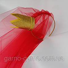 Фата на девичник на ободке обруче ободочке красная красная золотая корона