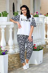 Летний женский костюм блуза+штаны большого размера : 48-50.,52-54.,56-58.
