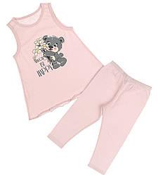 Пижама детская для девочки (Майка широкая бретель +капри), Donella (размер 2/3)