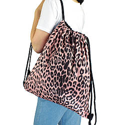 Рюкзак мешок на затяжках для сменной обуви Леопард розовый