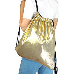 Рюкзак мешок на шнурках из текстиля для сменной обуви золотистый