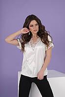 Шелковая летняя женская блуза с кружевом