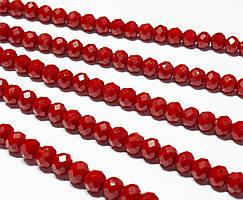 Бусины хрустальные (Рондель)  6х4мм пачка - 95-105 шт, непрозрачный темно красный глянец