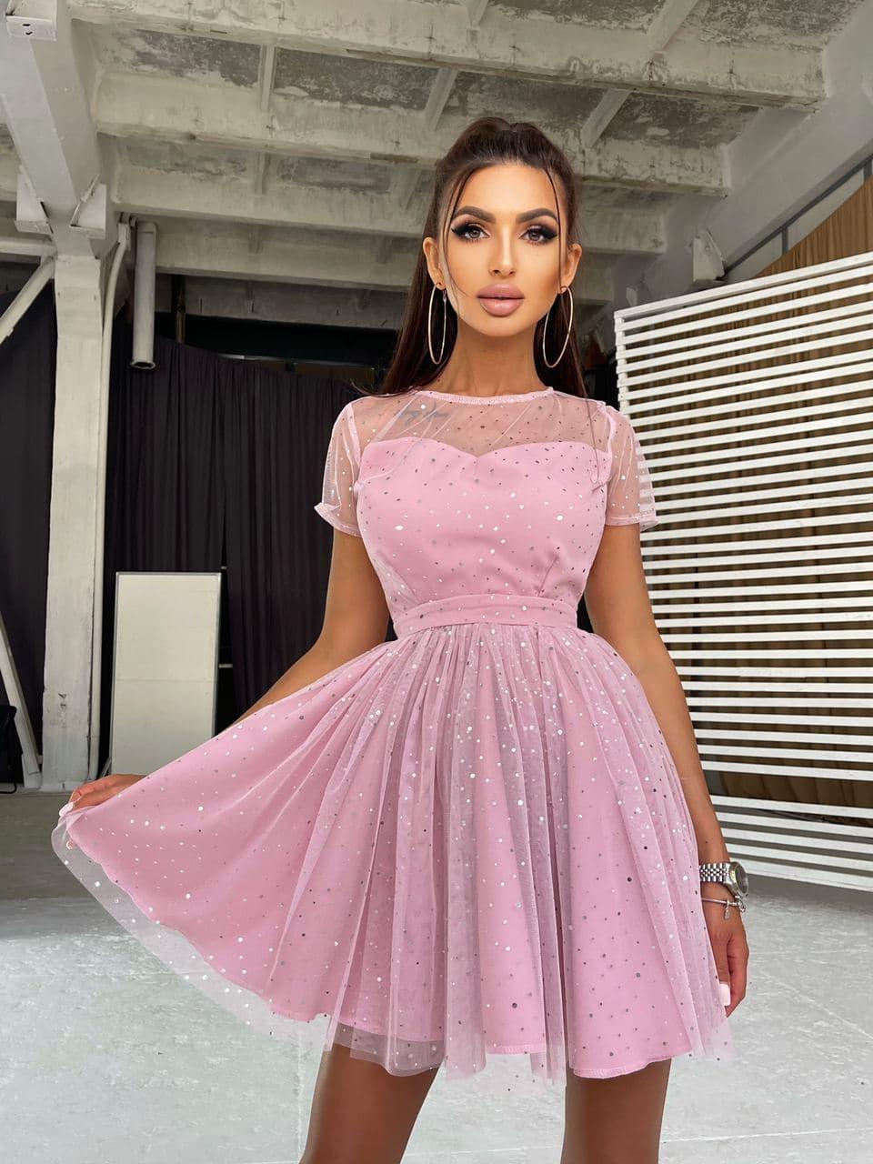Стильное розовое женское платье с пышной юбкой в звездочки Pink