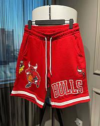 Чоловічі шорти з биком Bulls (червоні) трикотажні на літо ѕк26_шорты