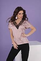 Шелковая летняя женская блуза с кружевом пудра