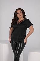 Шелковая летняя женская блуза с кружевом батал черный
