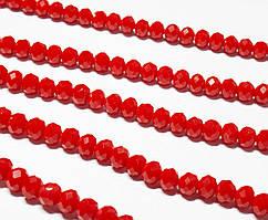 Бусины хрустальные (Рондель)  6х4мм пачка - 95-105 шт, непрозрачный красный глянец