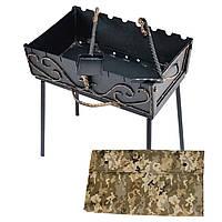 Мангал-чемодан 3 мм на 8 шампуров 45х33х15 см с ковкой (Домашний гриль барбекю разборной, складной)