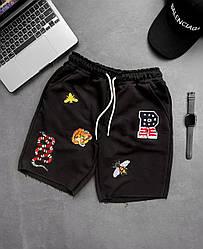 Чоловічі шорти з принтом (чорні) трикотажні на літо ssl9