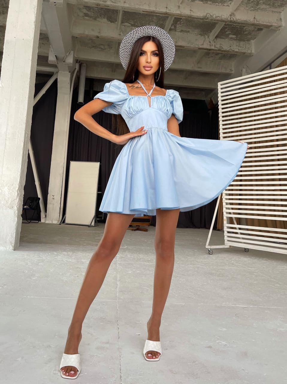 Стильне блакитне жіноча літнє бавовняне плаття з зав'язками на грудях і відкритими плечима Blue