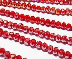 Бусины хрустальные (Рондель)  6х4мм пачка - 95-105 шт, непрозрачный красный с АБ