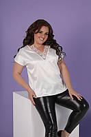 Шелковая летняя женская блуза с кружевом батал белый