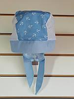 Бандана для мальчика летняя Голубые якоря, р. от 6 мес. до 2-х лет