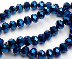 Бусины хрустальные (Рондель) 6х4мм пачка - 95-105 шт, цвет - синее напыление