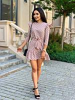 Нежное платье в горошек с рукавом крылышко, фото 1