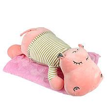 """Плюшева іграшка-плед """"Рожевий бегемотик"""" плед 160х120см автомобільна подушка в машину, мікрофібра"""