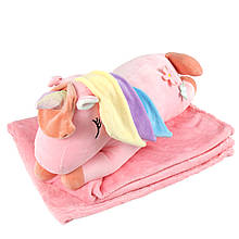 """Плюшева іграшка-плед """"Рожевий єдиноріг"""" плед 160х120см автомобільна подушка в машину, мікрофібра"""