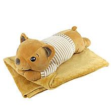 """Плюшева іграшка-плед """"Рудий Ведмедик"""" плед 160х120см автомобільна подушка в машину, мікрофібра"""