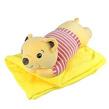"""Плюшева іграшка-плед """"Жовтий ведмедик"""" плед 160х120см автомобільна подушка в машину, мікрофібра"""