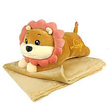 """Плюшева іграшка-плед """"Рудий лев"""" плед 160х120см автомобільна подушка в машину, мікрофібра"""