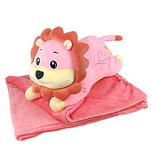 """Плюшева іграшка-плед """"Рожевий лев"""" плед 160х120см автомобільна подушка в машину, мікрофібра"""