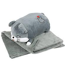 """Плюшева іграшка-плед """"Сіра мишка"""" плед 160х120см автомобільна подушка в машину, мікрофібра"""