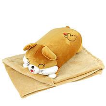 """Плюшева іграшка-плед """"Помаранчева мишка"""" плед 160х120см автомобільна подушка в машину, мікрофі"""