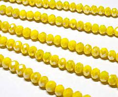 Бусины хрустальные (Рондель) 6х4 мм  пачка - примерно 95-105 шт, непрозрачный лимонный с АБ