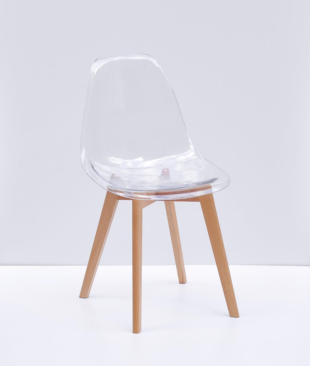 Стул обеденный пластиковый прозрачный  на  буковых ножках Nik D Carbon   Onder Mebli, цвет прозрачный