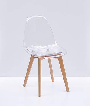 Стул обеденный пластиковый прозрачный  на  буковых ножках Nik D Carbon   Onder Mebli, цвет прозрачный, фото 2