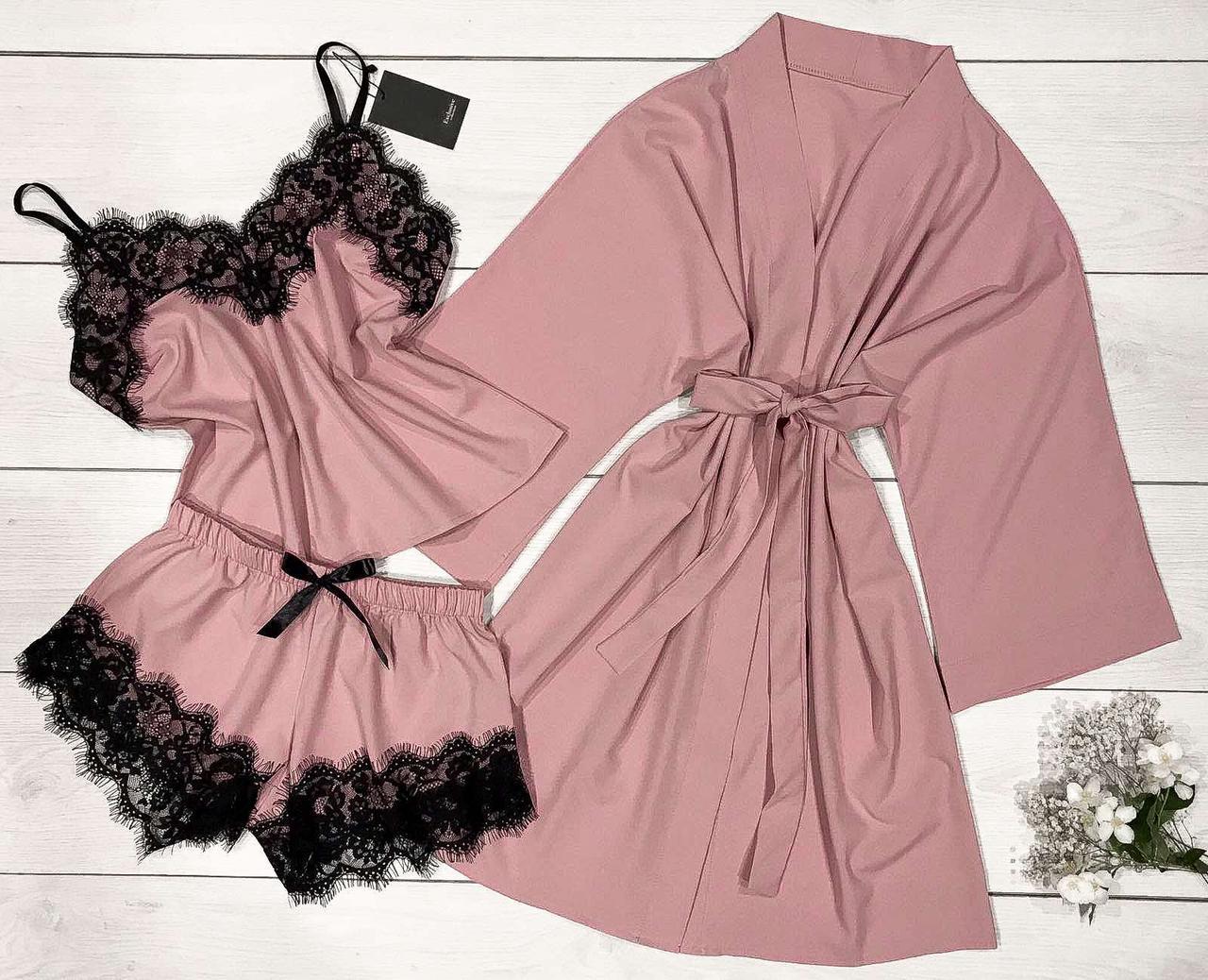 Халат и пижама цвет пудра Домашний комплект женской одежды