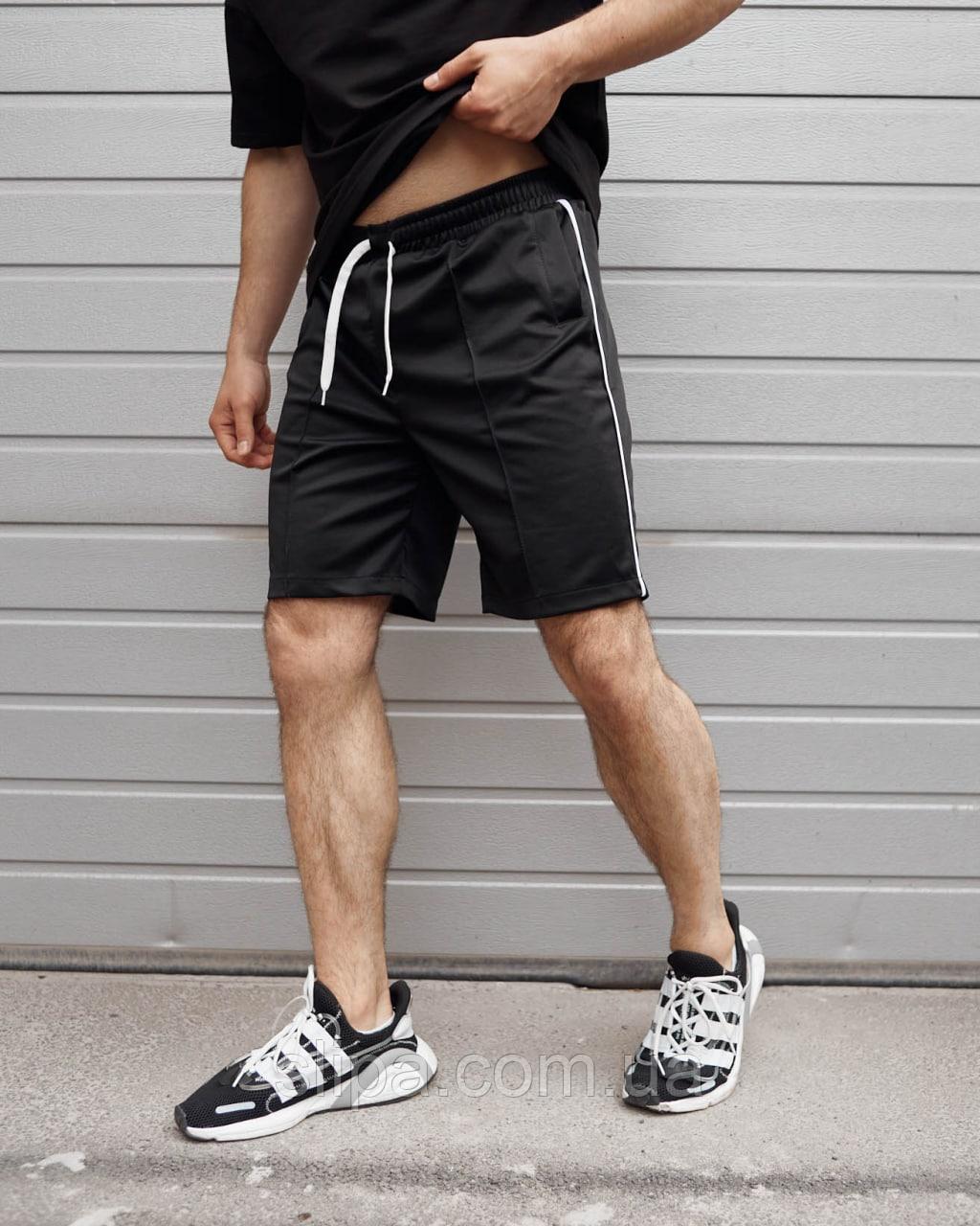 Чорні шорти чоловічі CJ з тонким білим лампасом | Україна | креп-дайвінг