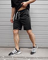 Чорні шорти чоловічі CJ з тонким білим лампасом | Україна | креп-дайвінг, фото 1
