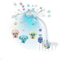 Карусель (Мобиль) на кроватку с проектором звездного неба, с пультом. 500 мелодий. 9970 Голубой