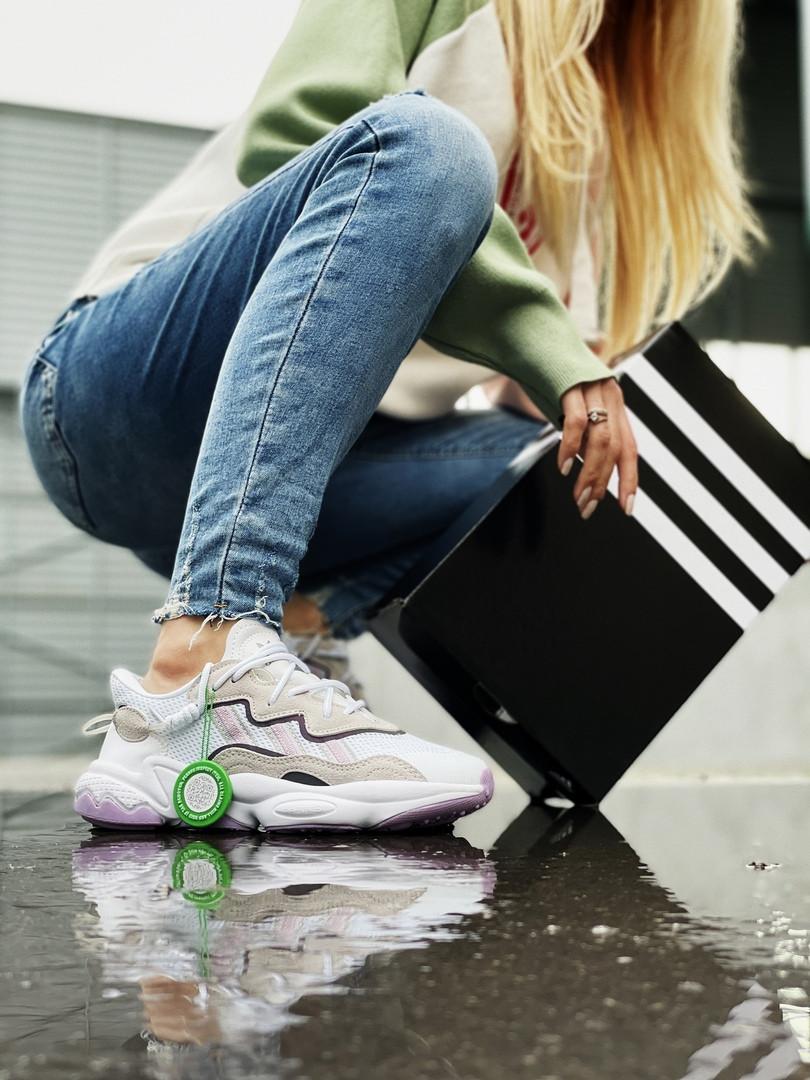 Adidas Ozweego жіночі літні бежеві кросівки на шнурках. Літні жіночі текстильні кроси.