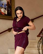 Женский летний костюм с шортами Двунитка Декорирован пайетками Размер 48 50 52 54 Разные цвета