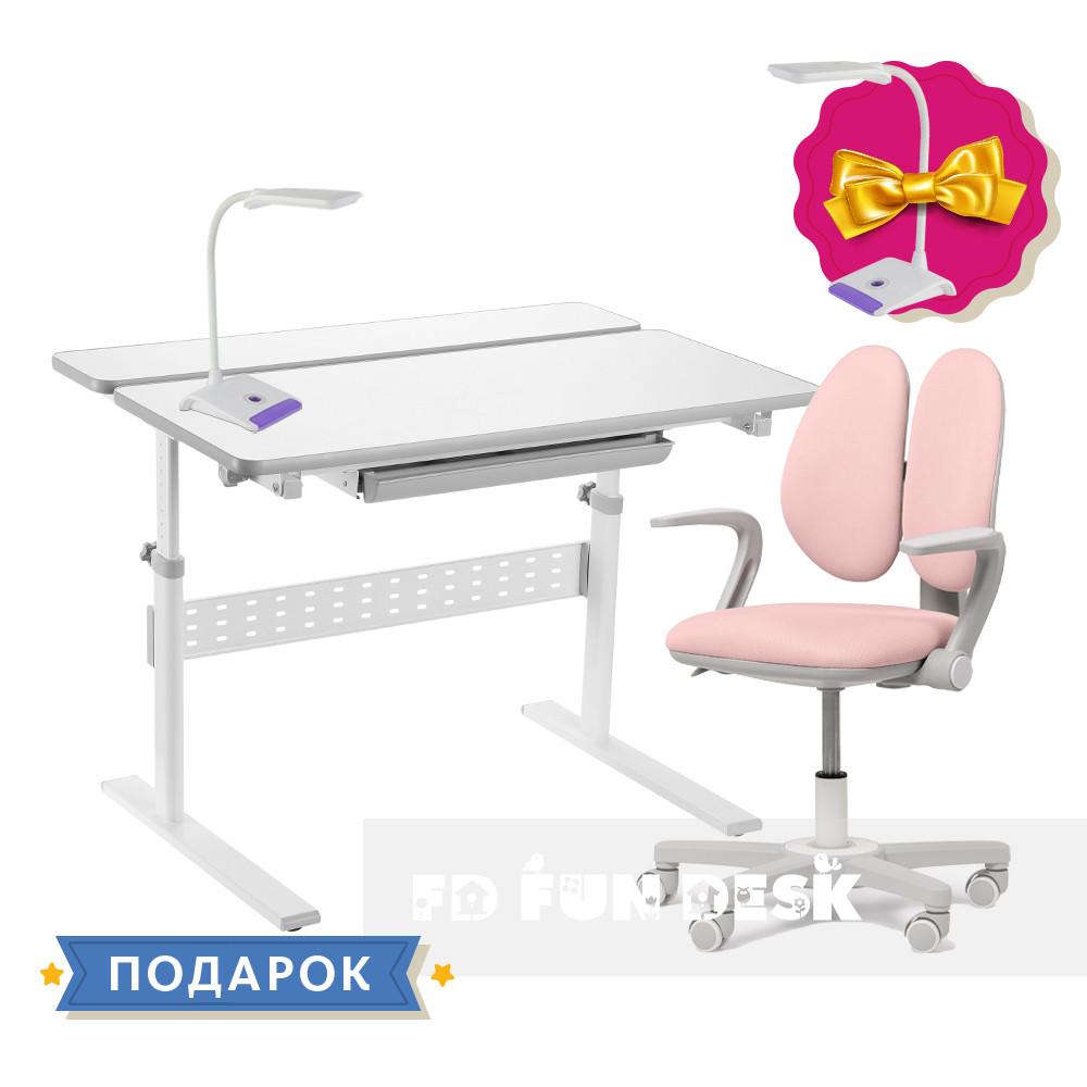 Комплект для девочки парта-трансформер Fundesk Colore Grey + эргономичное кресло Fundesk Mente Pink