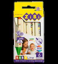 Карандаши восковые JUMBO, 6 цветов, трехгранные, BABY Line