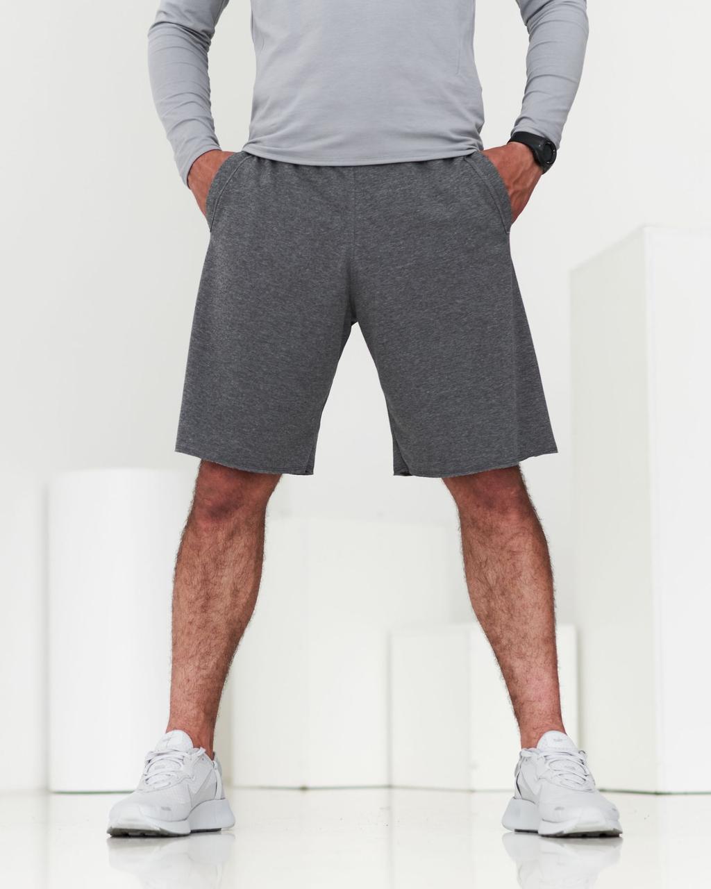 Мужские спортивные шорты серого цвета   Шорты мужские свободного кроя