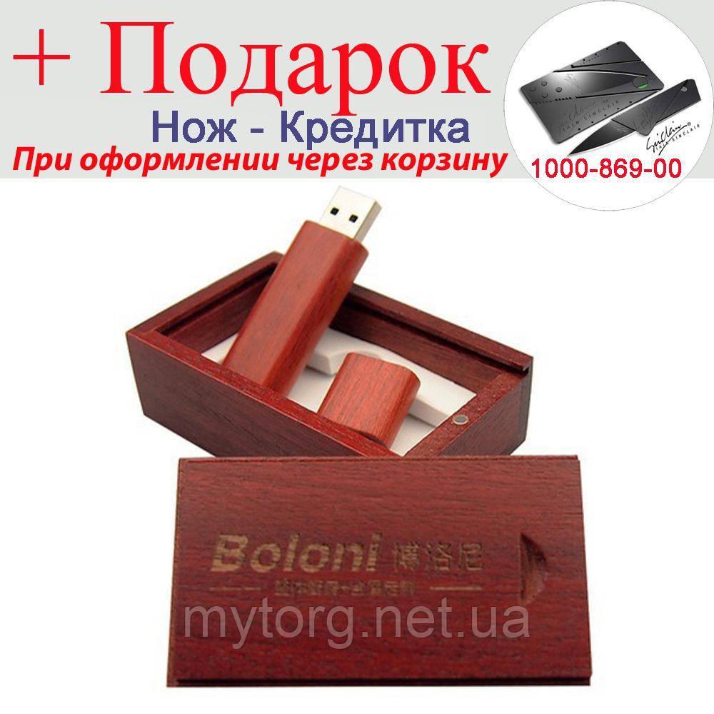 Дерев'яна флешка зі скринькою 64GB USB Rose red with box Червоний