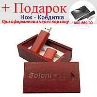Дерев'яна флешка зі скринькою 64GB USB Rose red with box Червоний, фото 1