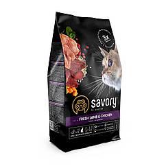 Сухий корм Savory для стерилізованих котів ягня та курка 400 г