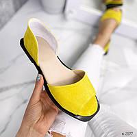 Стильные женские замшевые босоножки желтые без каблука. Балетки открытые замшевые натуральные бежевые новинка